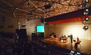 Traditional musicians entertain the crown in the student activities center.