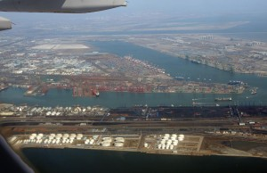 Tianjin Binhai Port, taken last March. The explosions occurred at the far left of the frame.